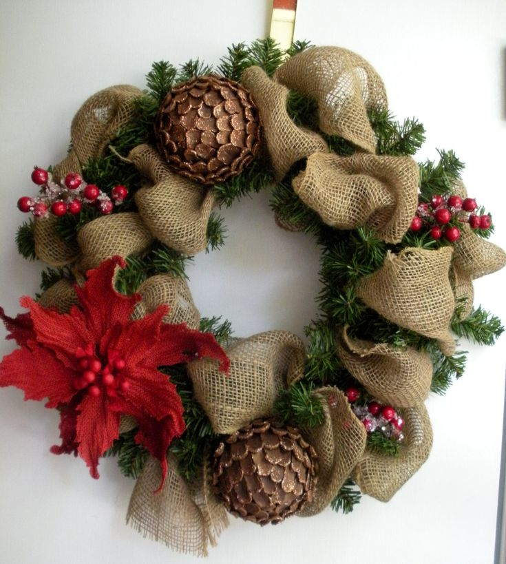 Burlap christmas woodlands wreath with pinecones Burlap xmas wreath