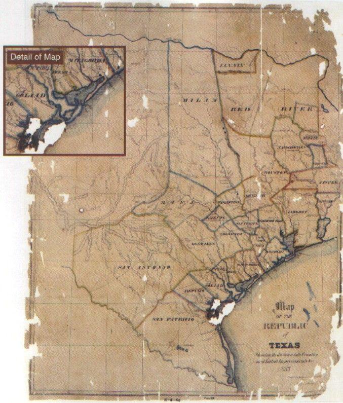 Republic Of Texas Map 1837  Texas  Pinterest