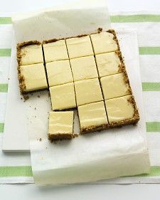 Lime squares with pistachio graham cracker crust