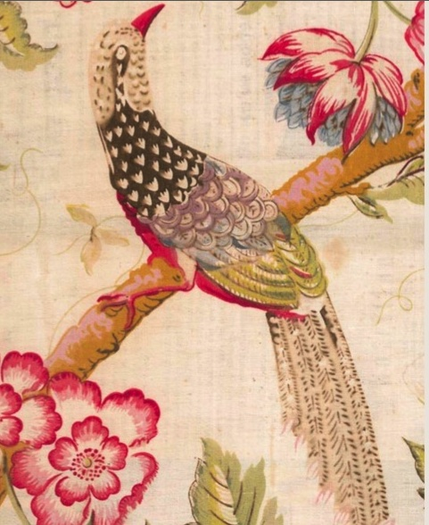Early 19th century English fabric recreated by Bennison as Chinese Pheasant.  http://selvedge.org