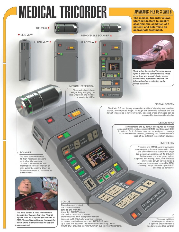 medical tricorders That isn't to say that dxter does more than the show's magical medical scanner -- unlike star trek's tricorder, the winning xprize entry is.