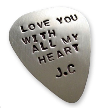 Single Sided Guitar Pick (Medium Thickness) - Sterling Silver Hand Stamped Personalized (GP004)