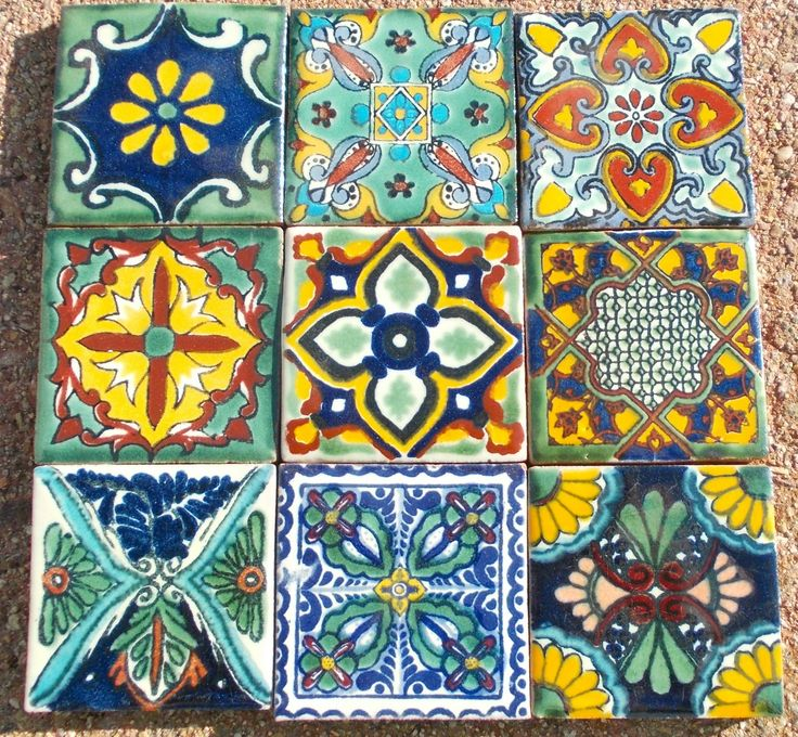 18 mexican talavera pottery 2 clay tile hand painted wall for Spanish clay tile