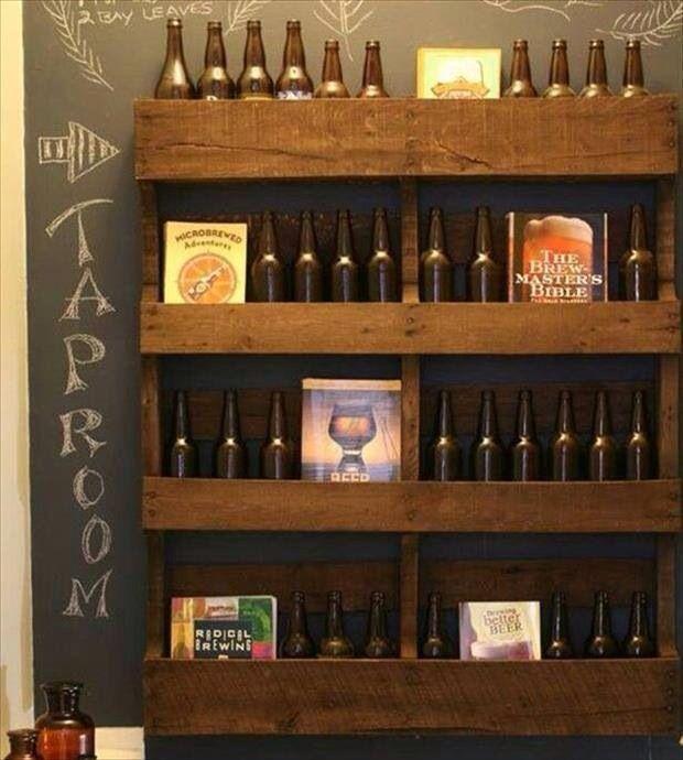 Man Cave Bar Shelves : Pallet wood beer shelves diy mancave my man cave