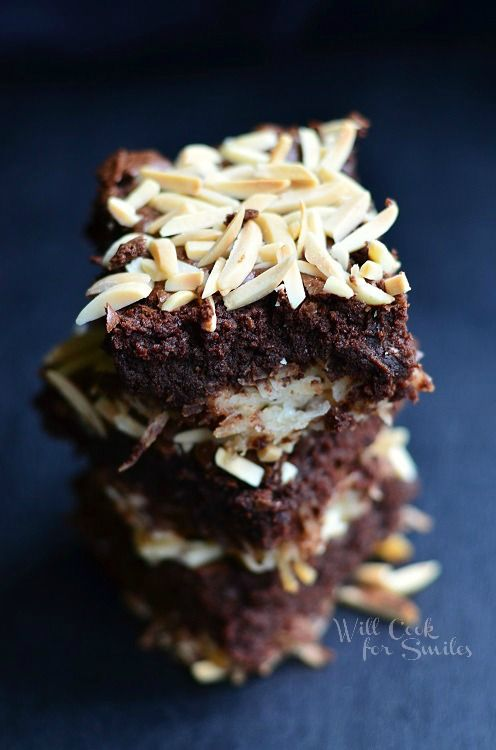 Almond Joy Brownies from willcookforsmiles.com #brownies #coconut # ...
