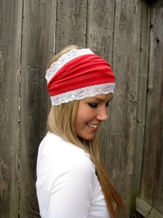 Red Stripe Stretch Rayon Blend Jersey Knit