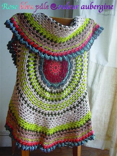 Free Crochet Pattern For Mandala Vest : Vest-Mandala- Crochet Tops Pinterest