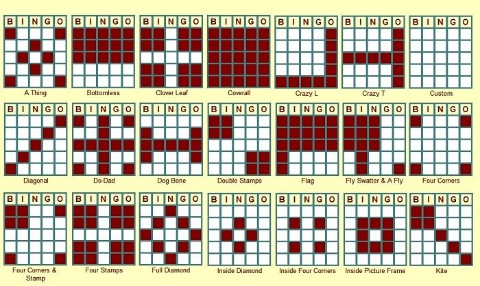 Types Of Bingo Game Patterns likewise Free Printable Christmas Bingo ...