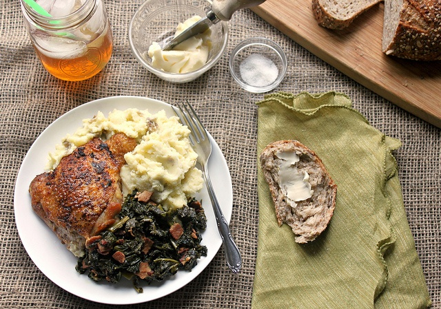 Crispy Chicken Thighs with Mashed Potatoes and Kale