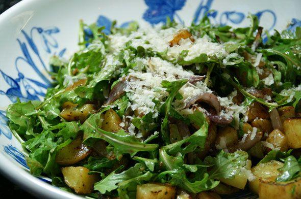 Warm Potato Salad with Arugula- sub with sweet potato OR rutabaga???