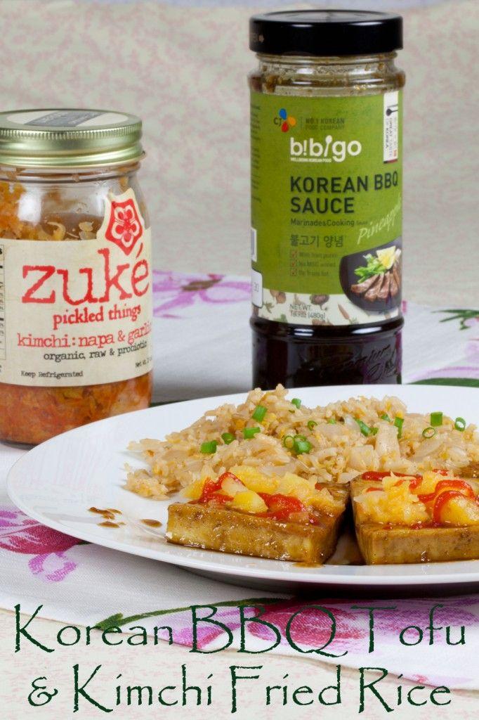 Easy Korean BBQ Tofu and Kimchi Fried Rice #vegan