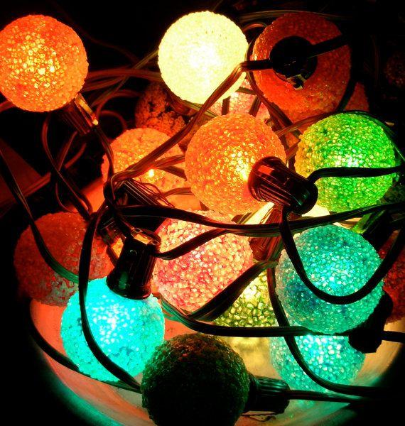 Vintage Christmas Lights Iced Popcorn Colored Bulbs Aqua
