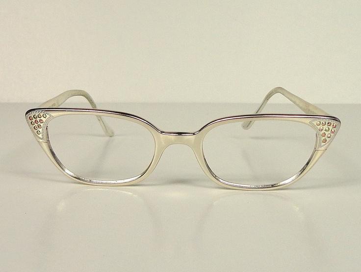 Vintage Silver Eyeglass Frames : Silver Aluminum Vintage Cat Eye Eyeglass Frames Glasses ...