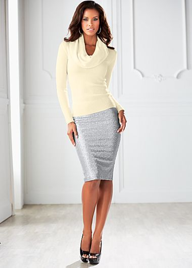 What do you wear with a sequined skirt?