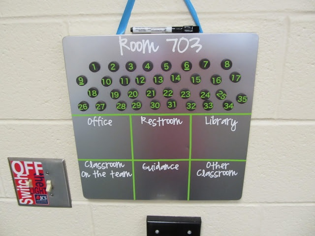 Student Location Magnet Board: when a student leaves the room, they move their numbered magnet to the correct box... always know where kids are when the office calls or for fire drills, etc.