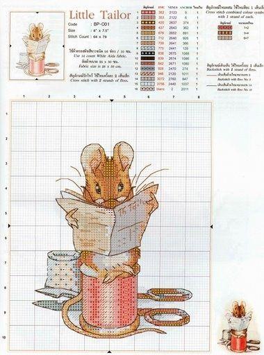 Вышивка крестом мышата 64