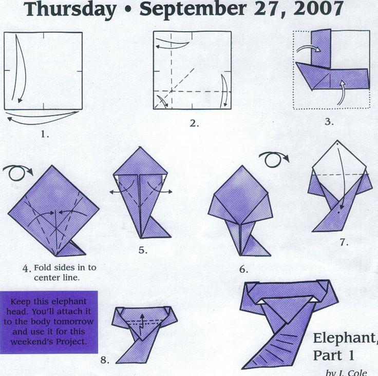 elephant head origami pinterest