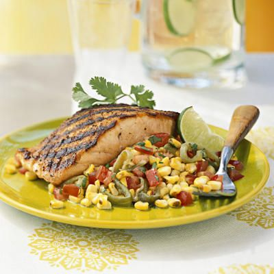 Grilled Salmon with Roasted Corn Relish | Cooking | Pinterest