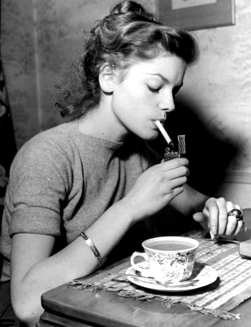 Lauren Bacall, young, coffee, cigarettes