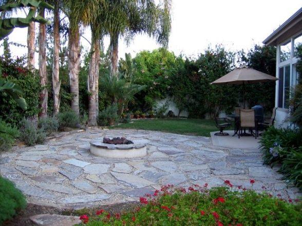 Low Maintenance Backyard Trees : Californian Backyard, A low maintenance yard with palm trees, koi