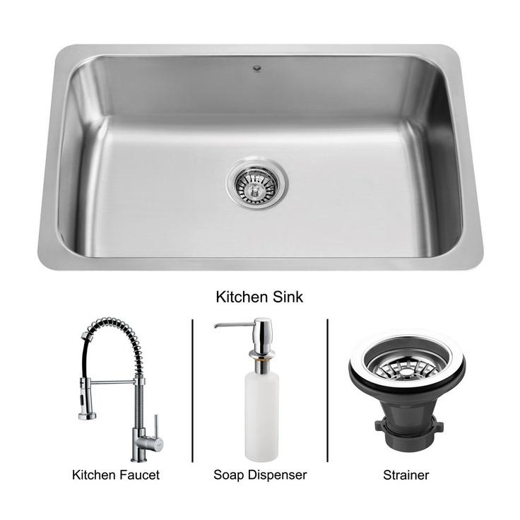 Faucet Strainer Dispenser Single Basin Kitchen Sink, Stainless Steel