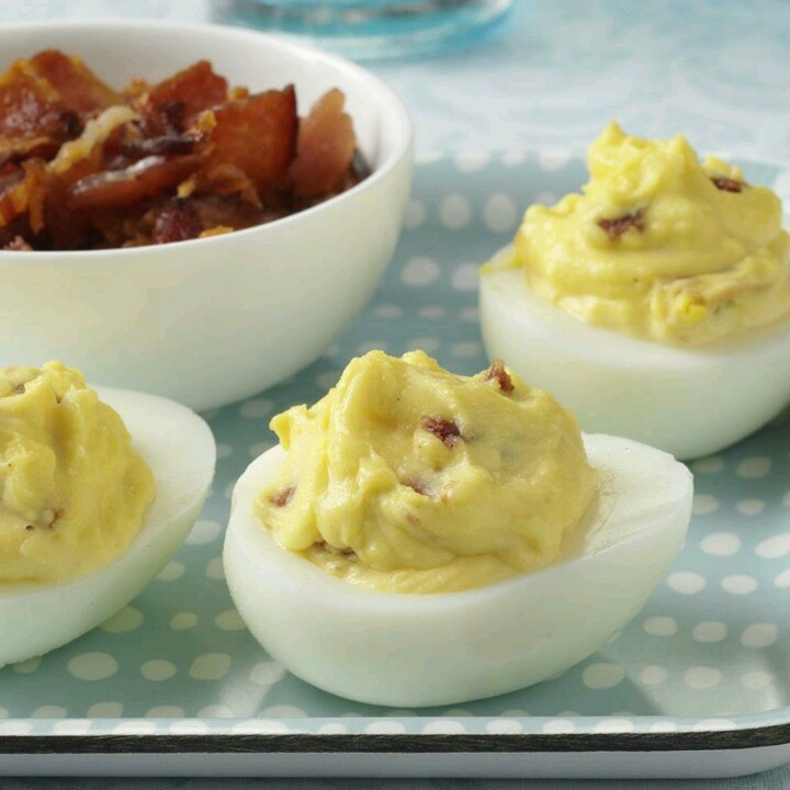Bacon & cheddar deviled eggs | Recipes | Pinterest
