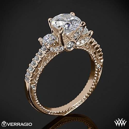 20k Rose Gold Verragio Beaded d Prong 3 Stone Engagement Ring