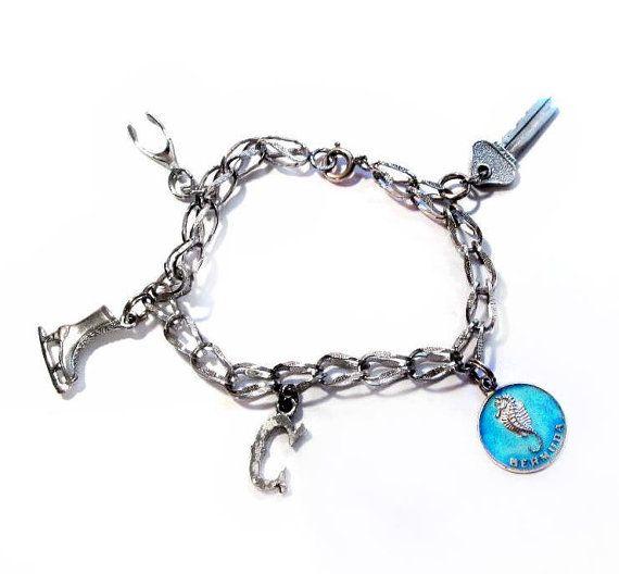 vintage sterling silver charm bracelet etsy vintage