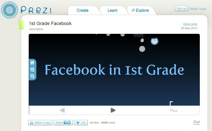 Facebook in 1st Grade--interesting!