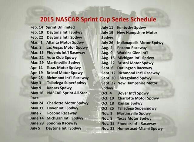 nascar cup race schedule