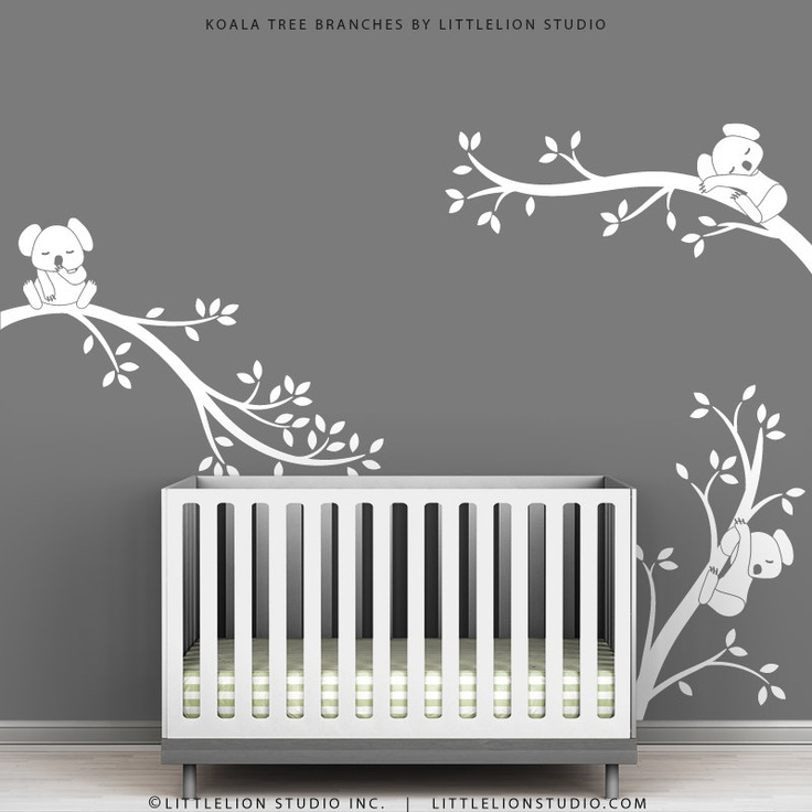 White tree wall decal gray wall modern baby nursery wall - Modern nursery wall decor ...