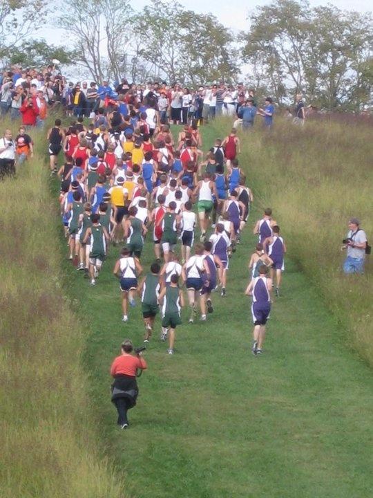 The beginning of a high school XC race