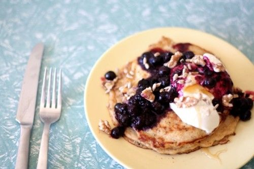 oat pancakes w berry compote | Made with Yum | Pinterest