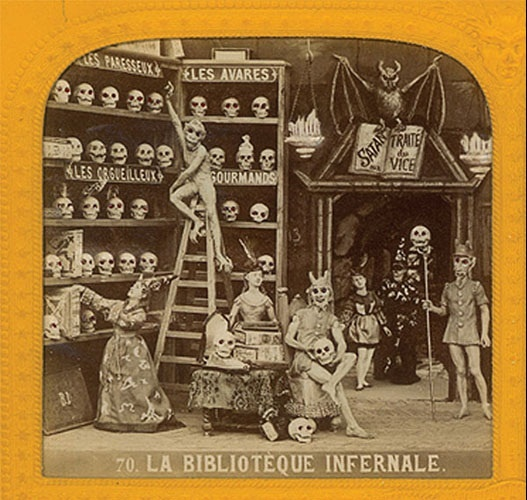"""Macabre Obsession""  During the reign of Louis Napoleon (1852-1870), French artists created stereoscopic photographs, called Diableries, of miniature dioramas of skeletons at dress balls, libraries , conferences with the devil, and in amorous trysts."