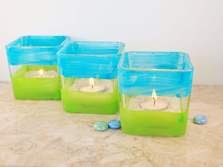 3 wedding candle holders aqua and lime green by green - Turquoise and lime green decor ...