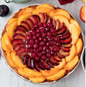 Gluten-Free Peach, Plum, Raspberry Tart with Cardamom Cream and Almon ...