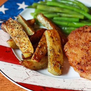 Peach-crusted Pork Chops with Herb-roasted Potato Wedges | The Daring ...