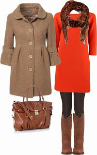 Adorable Winter Coat, Orange Dress with Suitable Scarf, Black Tight, Leather Handbag and Long Boots