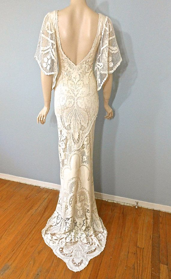 Boho wedding dress vintage style crochet lace wedding for Wedding dress vintage style lace