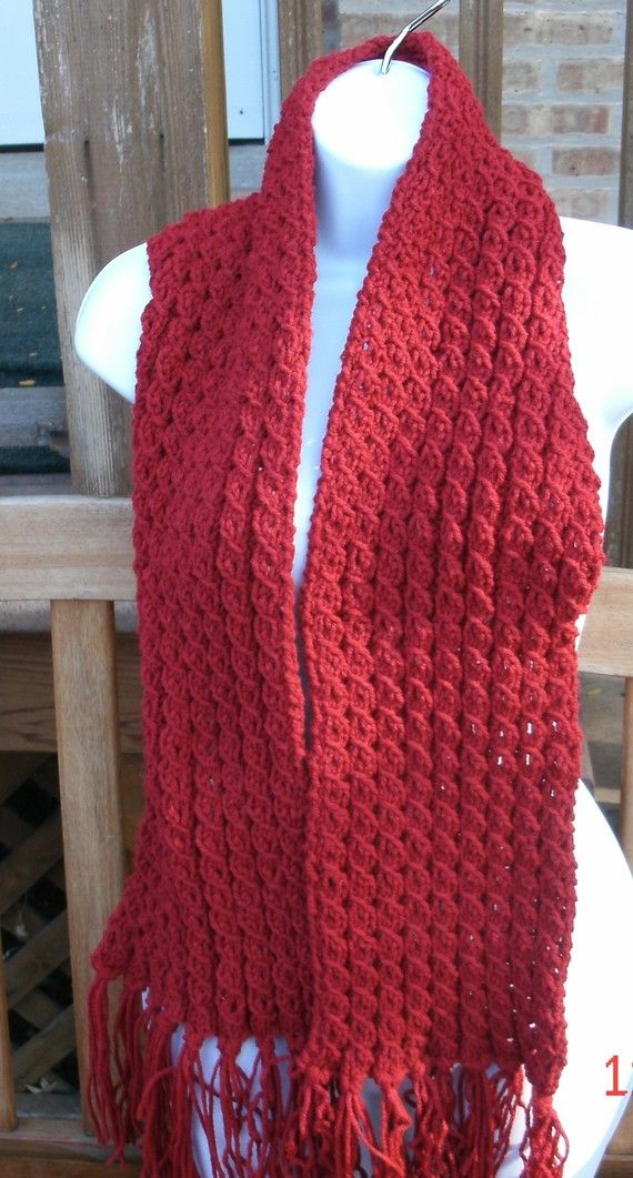 Hand Knit Scarf The Cable Scarf in Cranberry Knit by designbcb 1850 Hand Knitted Scarves For Sale