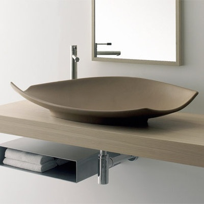 Above Counter Bathroom Sink : Scarabeo by Nameeks Kong 90 Above Counter Bathroom Sink in White ...