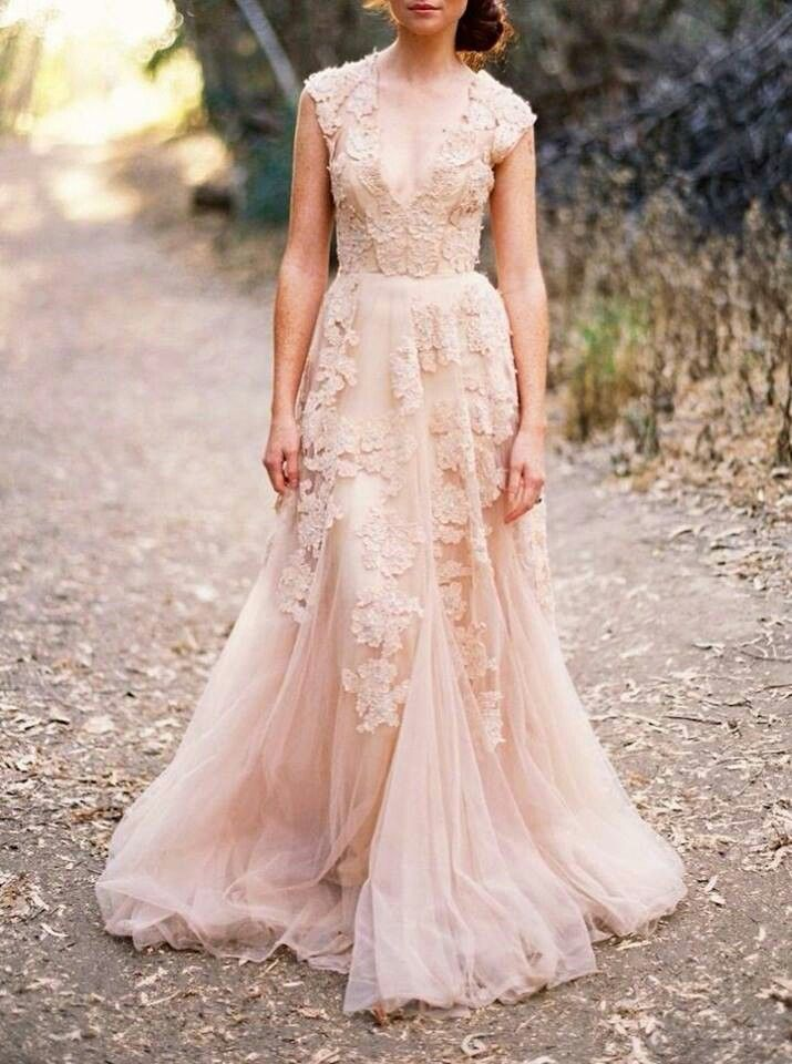Cream blush wedding dress