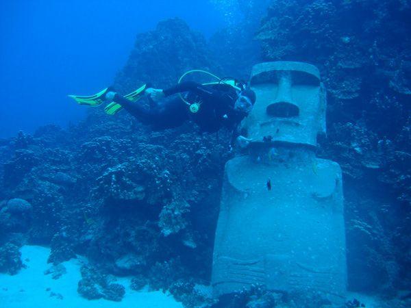 Easter Island Heads Underwater