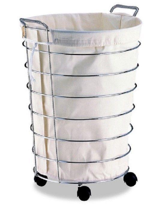 Basket Rolling Laundry Folding Storage Wheels Washable New