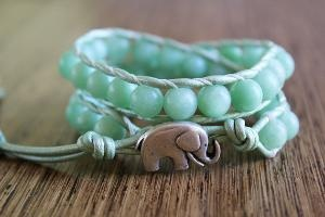 Elephant Bracelet Mint Green Jewelry Leather by theredparachute