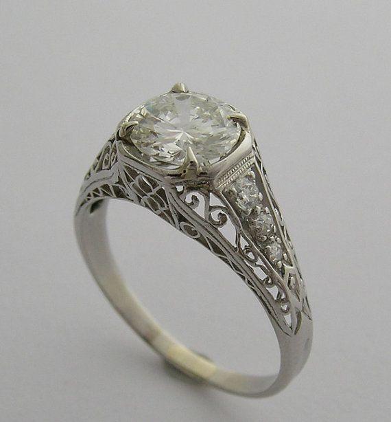 deco antique platinum engagement ring circa 1925