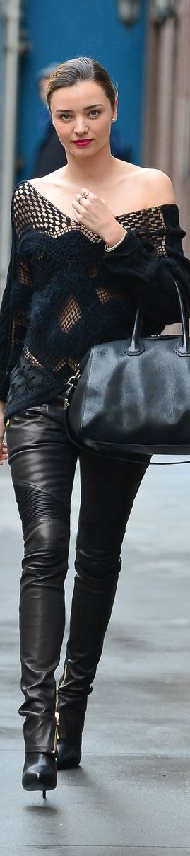 Stylish leather pants handbag and lace shirt