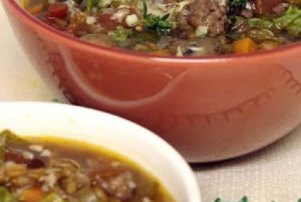 Rustic Farro Soup with Sausage and Mushrooms | Recipe