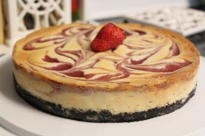 White Chocolate Strawberry Swirl Cheesecake | Tasty Kitchen: A Happy ...