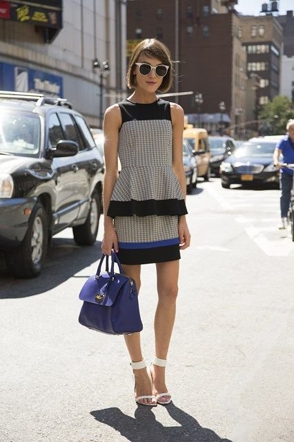 "New York Fashion Week street style inspiration (Vogue.com UK). Ella Catliff, blogger  ""I'm wearing a Tibi top and skirt with a Mulberry bag and Aldo shoes."""